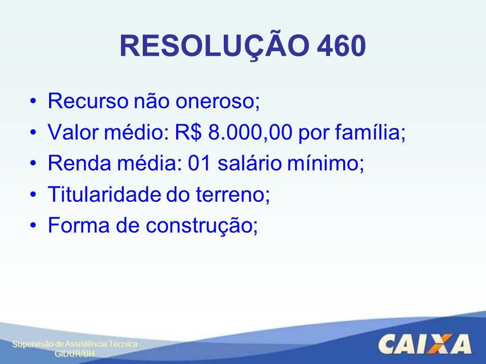 Supervisão de Assistência Técnica GIDUR/BH RESOLUÇÃO 460 Recurso não oneroso; Valor médio: R$ 8.000,00 por família; Renda média: 01 salário mínimo; Ti