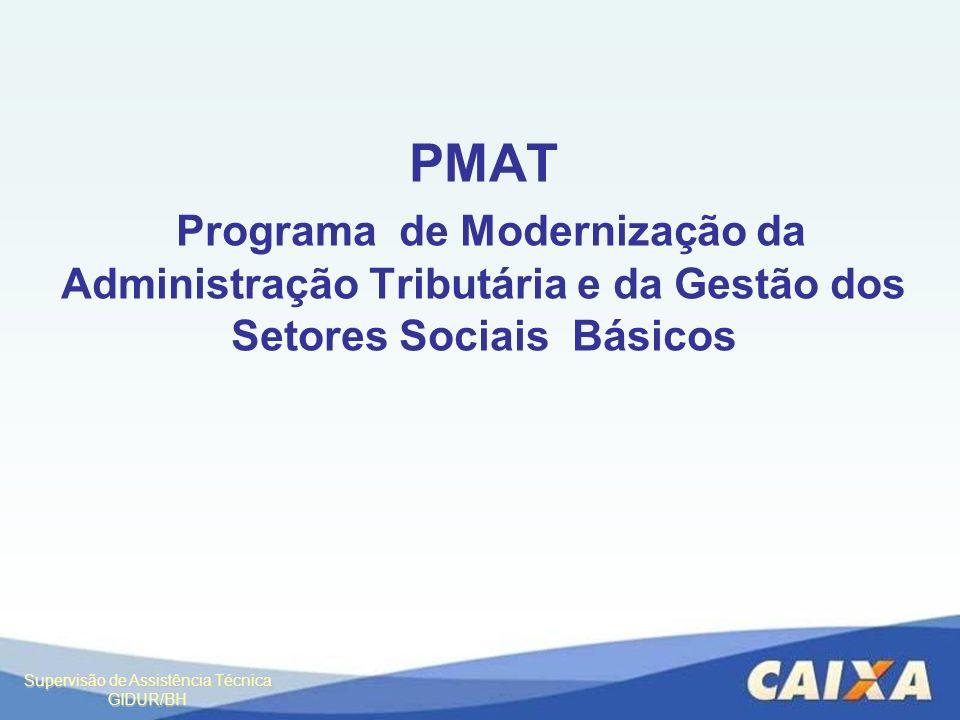 Supervisão de Assistência Técnica GIDUR/BH PMAT Programa de Modernização da Administração Tributária e da Gestão dos Setores Sociais Básicos