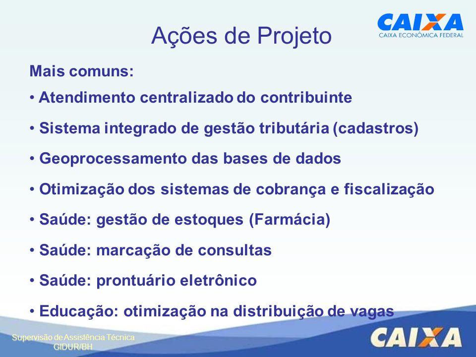 Supervisão de Assistência Técnica GIDUR/BH Ações de Projeto Mais comuns: Atendimento centralizado do contribuinte Sistema integrado de gestão tributár