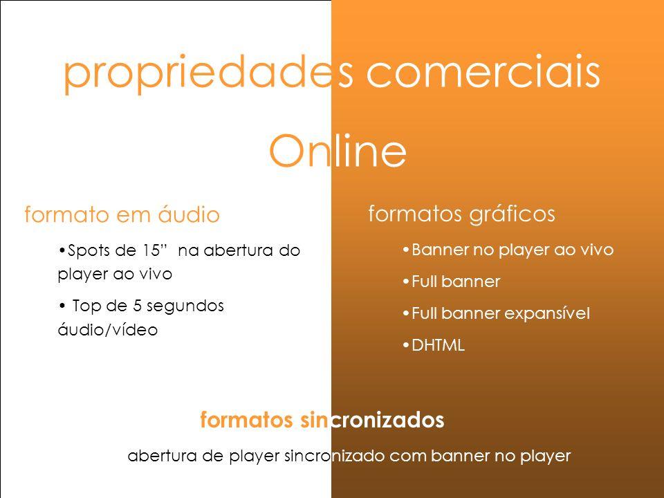 propriedades comerciais Online formatos gráficos Banner no player ao vivo Full banner Full banner expansível DHTML formato em áudio Spots de 15 na abe