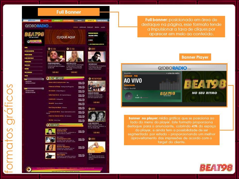 Banner Player Full Banner Full banner: posicionado em área de destaque na página, esse formato tende a impulsionar a taxa de cliques por aparecer em m