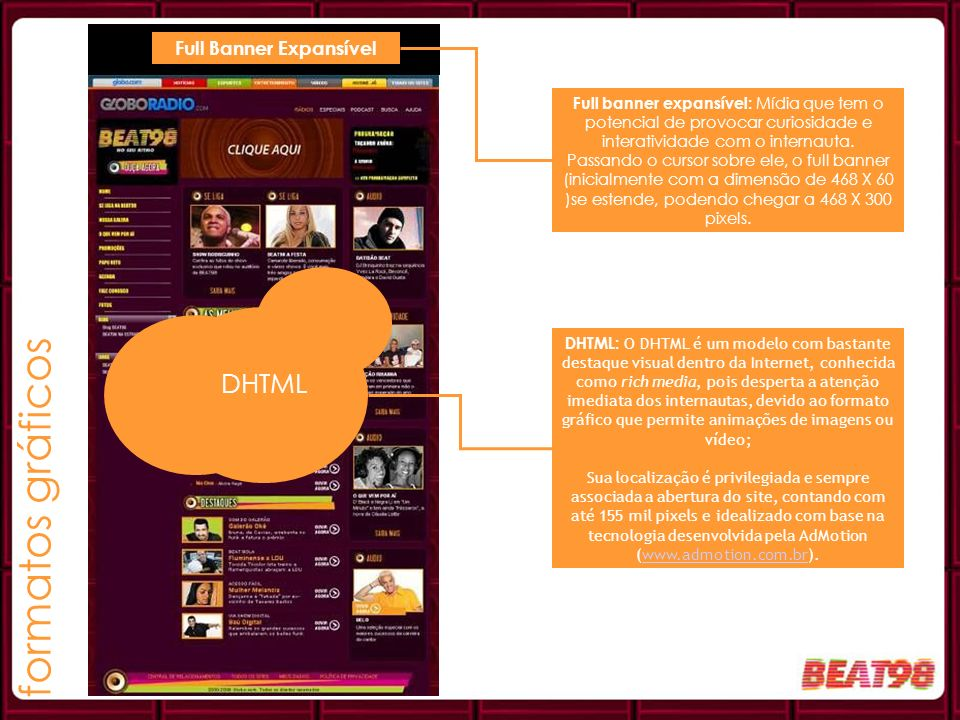 Full banner expansível: Mídia que tem o potencial de provocar curiosidade e interatividade com o internauta. Passando o cursor sobre ele, o full banne