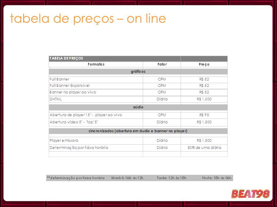 tabela de preços – on line
