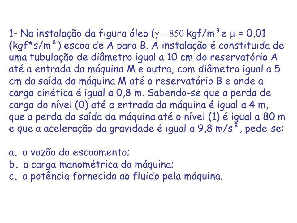 1- Na instalação da figura óleo ( kgf/m³e = 0,01 (kgf*s/m²) escoa de A para B. A instalação é constituida de uma tubulação de diâmetro igual a 10 cm d
