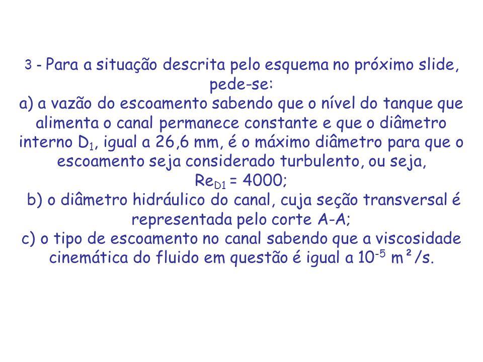 3 - Para a situação descrita pelo esquema no próximo slide, pede-se: a) a vazão do escoamento sabendo que o nível do tanque que alimenta o canal perma