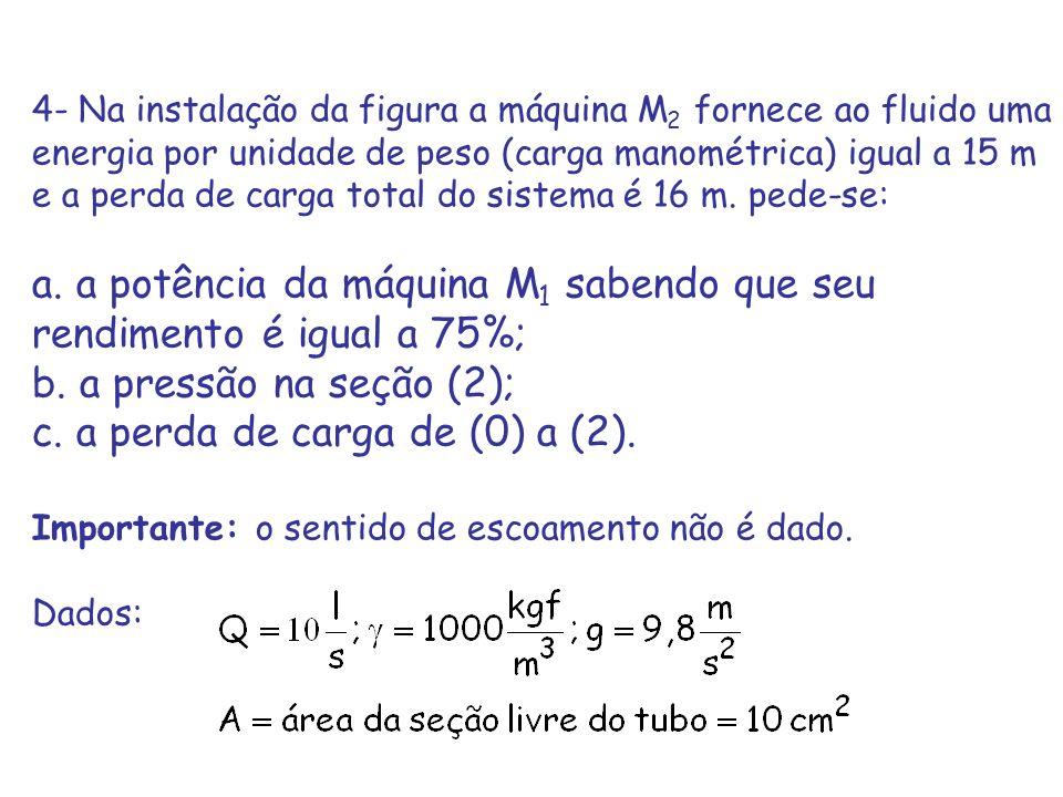 4- Na instalação da figura a máquina M 2 fornece ao fluido uma energia por unidade de peso (carga manométrica) igual a 15 m e a perda de carga total d