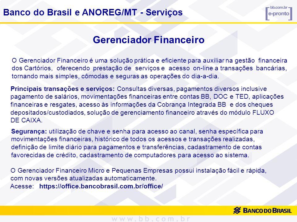 Gerenciador Financeiro O Gerenciador Financeiro é uma solução prática e eficiente para auxiliar na gestão financeira dos Cartórios, oferecendo prestaç