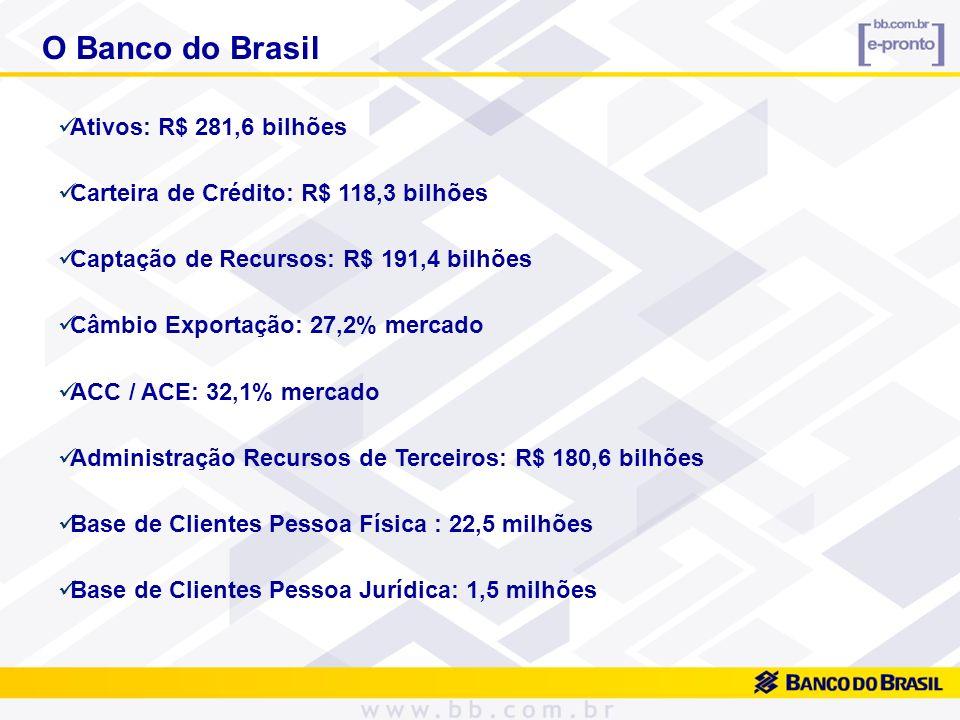 Faturamento de Cartões: 19,4% mercado Cartões Empresarial Micro e Pequenas Empresas: 490 mil Maior Número Terminais Auto Atendimento da América Latina: 42.951 Rede de Atendimento do País: 15.042 pontos Rede de Agências: 3.960 Presente em 3.128 municípios brasileiros e em 23 países Internet/Mobile Banking: 8,1 milhões clientes habilitados Internet: 823 milhões transações, sendo 514 milhões empresas e governo O Banco do Brasil
