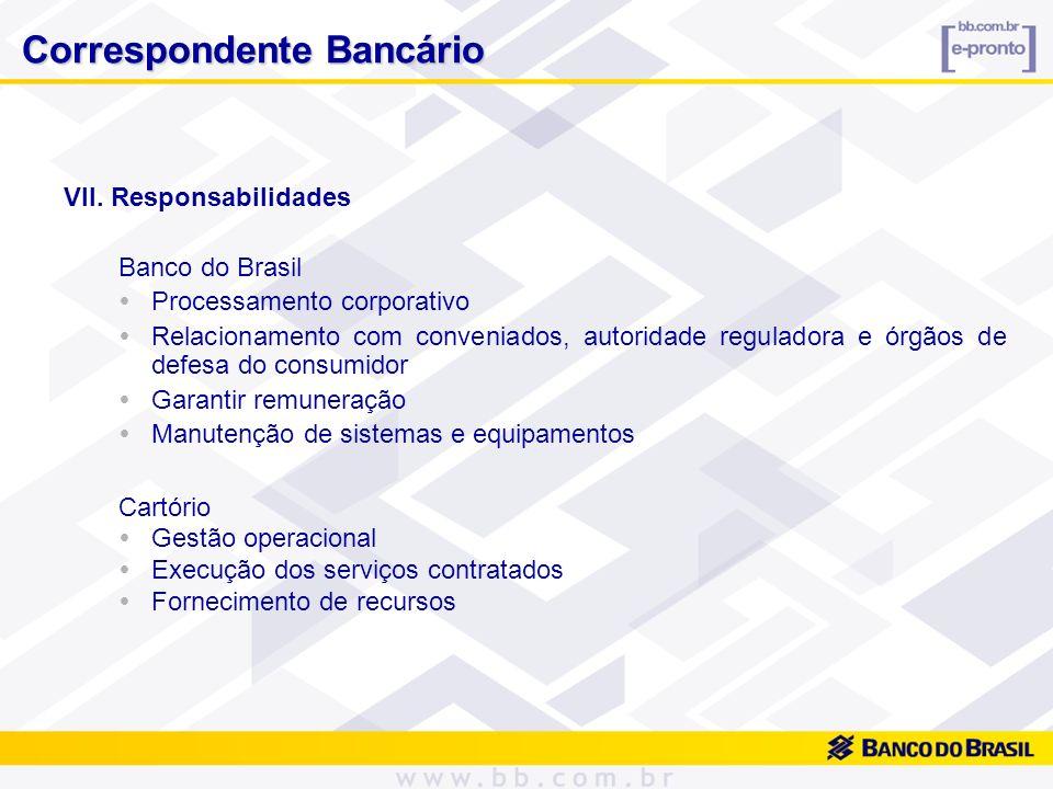 VII. Responsabilidades Banco do Brasil Processamento corporativo Relacionamento com conveniados, autoridade reguladora e órgãos de defesa do consumido