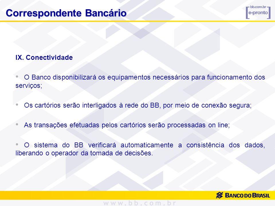 IX. Conectividade O Banco disponibilizará os equipamentos necessários para funcionamento dos serviços; Os cartórios serão interligados à rede do BB, p