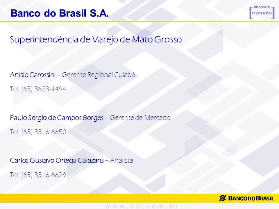 Banco do Brasil S.A. Banco do Brasil S.A. Superintendência de Varejo de Mato Grosso Anísio Carossini – Gerente Regional Cuiabá Tel: (65) 3623-4494 Pau