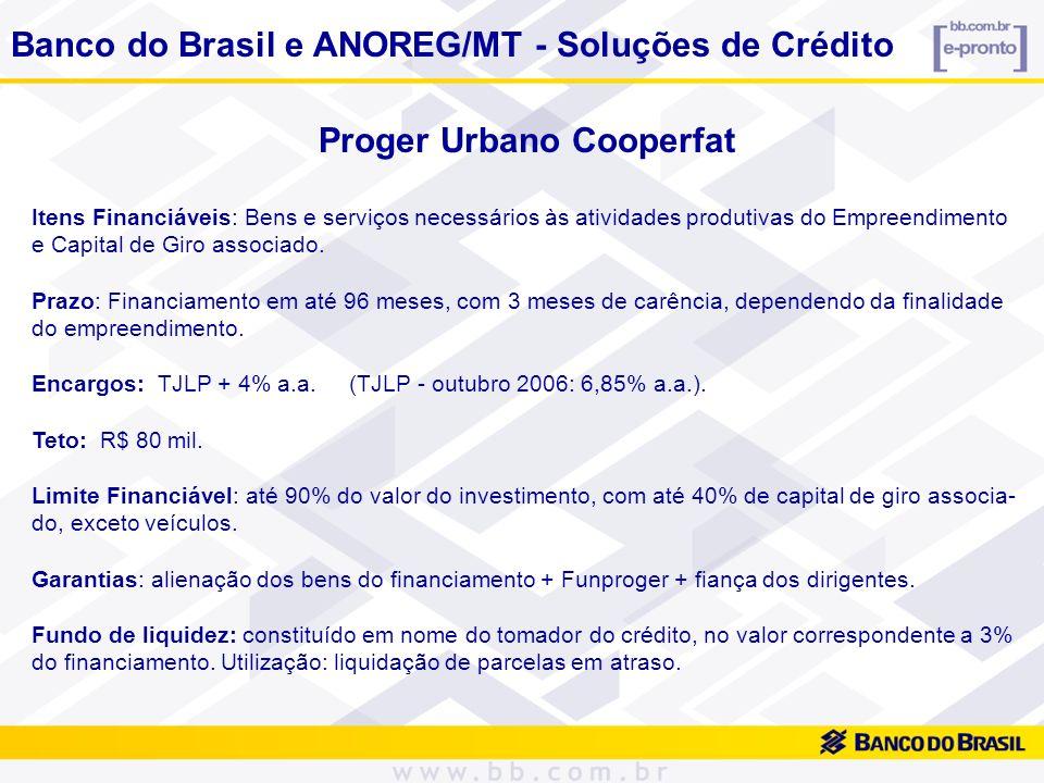 Proger Urbano Cooperfat Itens Financiáveis: Bens e serviços necessários às atividades produtivas do Empreendimento e Capital de Giro associado. Prazo: