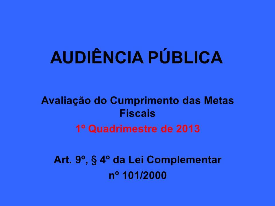 AUDIÊNCIA PÚBLICA Avaliação do Cumprimento das Metas Fiscais 1º Quadrimestre de 2013 Art. 9º, § 4º da Lei Complementar nº 101/2000