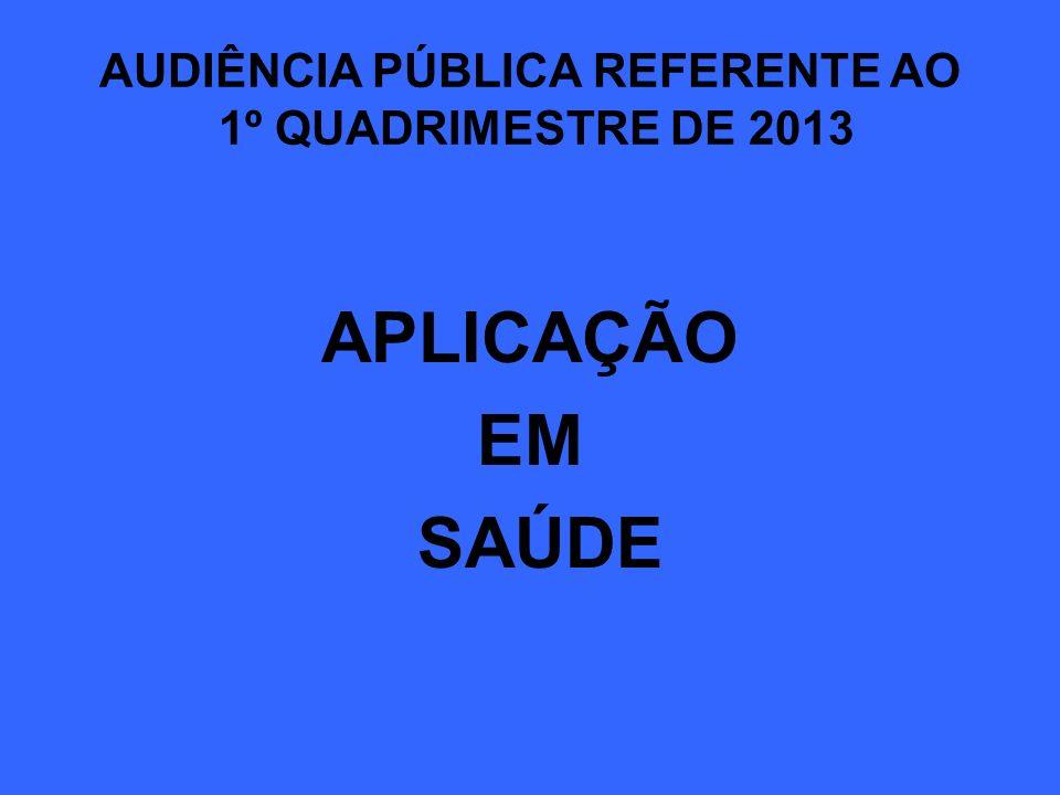 AUDIÊNCIA PÚBLICA REFERENTE AO 1º QUADRIMESTRE DE 2013 APLICAÇÃO EM SAÚDE