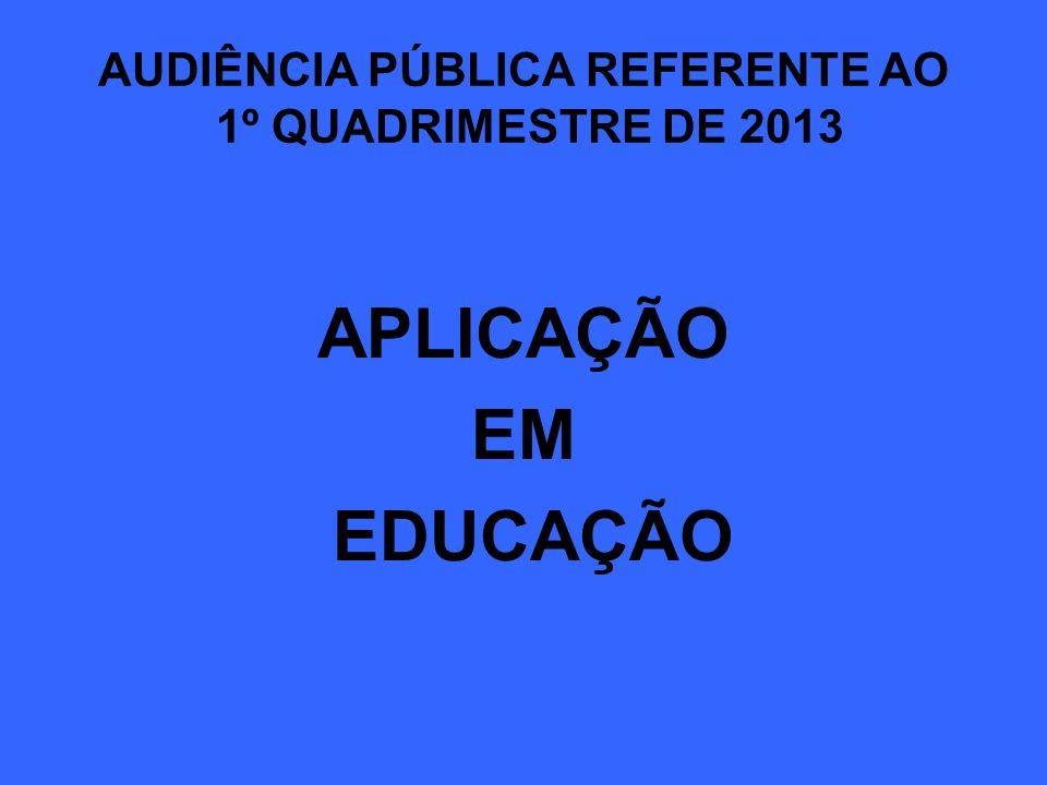 AUDIÊNCIA PÚBLICA REFERENTE AO 1º QUADRIMESTRE DE 2013 APLICAÇÃO EM EDUCAÇÃO