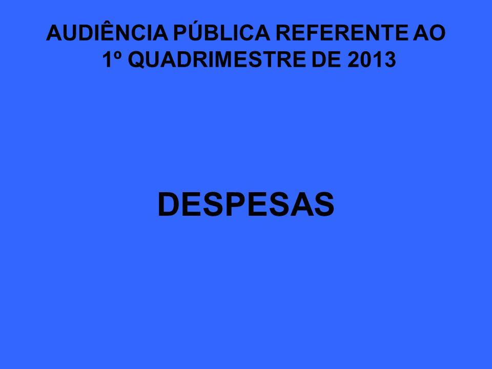 AUDIÊNCIA PÚBLICA REFERENTE AO 1º QUADRIMESTRE DE 2013 DESPESAS