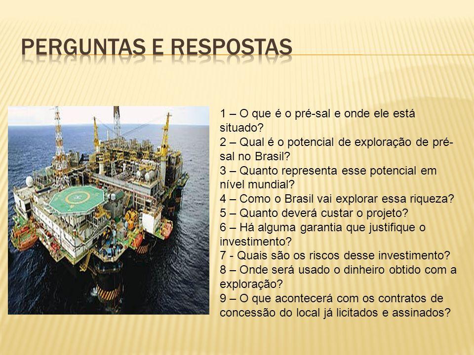 1 – O que é o pré-sal e onde ele está situado? 2 – Qual é o potencial de exploração de pré- sal no Brasil? 3 – Quanto representa esse potencial em nív