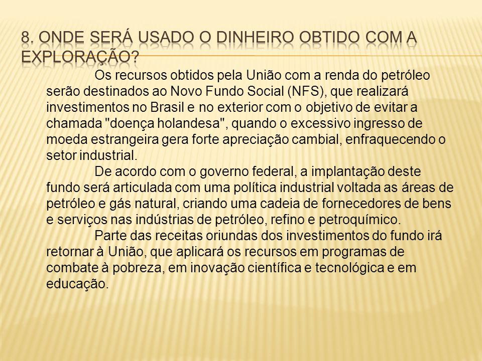 Os recursos obtidos pela União com a renda do petróleo serão destinados ao Novo Fundo Social (NFS), que realizará investimentos no Brasil e no exterio