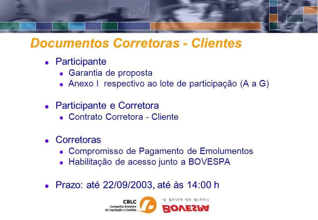 Documentos Corretoras - Clientes Participante Garantia de proposta Anexo I respectivo ao lote de participação (A a G) Participante e Corretora Contrat