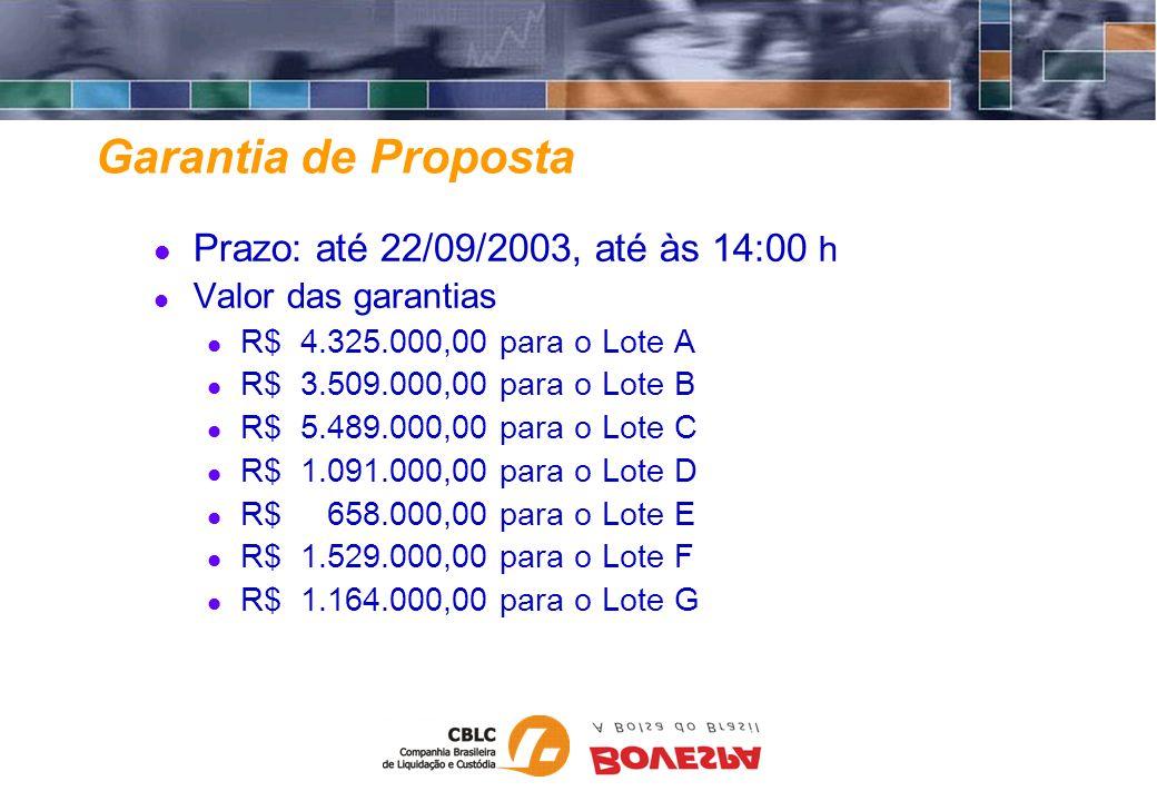 Garantia de Proposta Prazo: até 22/09/2003, até às 14:00 h Valor das garantias R$ 4.325.000,00 para o Lote A R$ 3.509.000,00 para o Lote B R$ 5.489.00