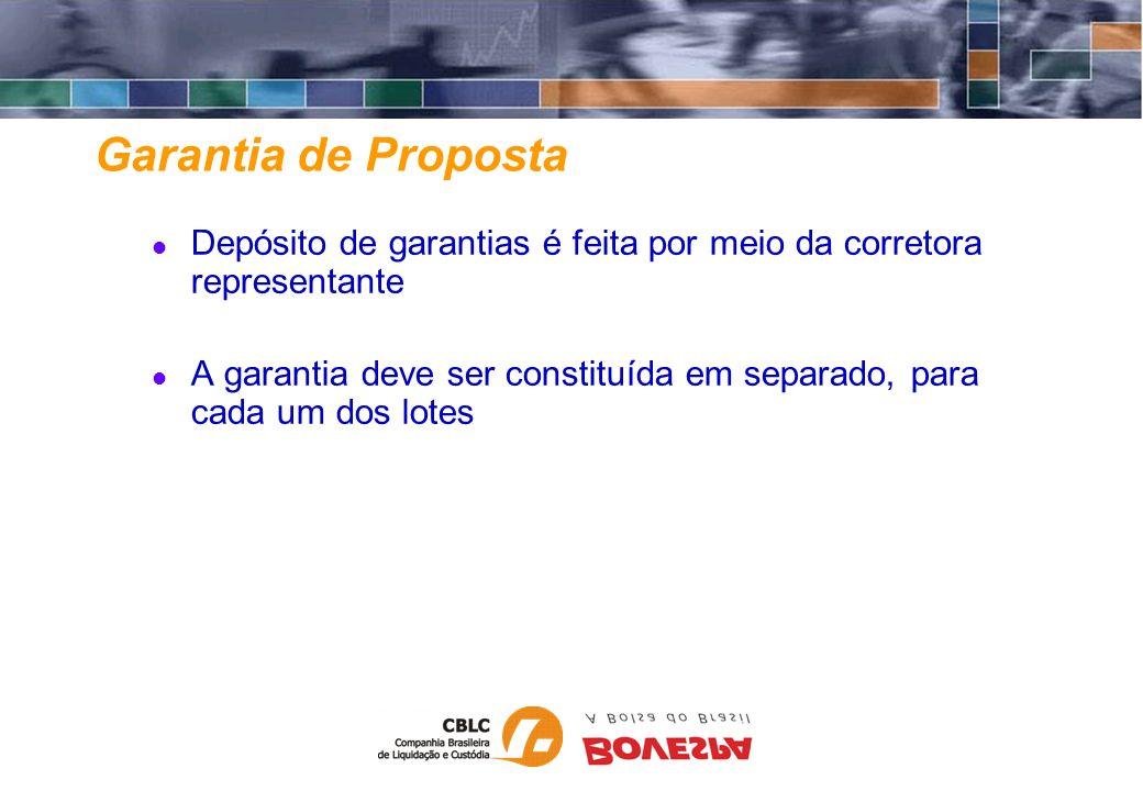Garantia de Proposta Depósito de garantias é feita por meio da corretora representante A garantia deve ser constituída em separado, para cada um dos l