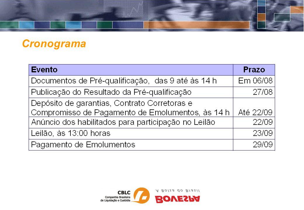 Documentos Corretoras - Clientes Participante Garantia de proposta Anexo I respectivo ao lote de participação (A a G) Participante e Corretora Contrato Corretora - Cliente Corretoras Compromisso de Pagamento de Emolumentos Habilitação de acesso junto a BOVESPA Prazo: até 22/09/2003, até às 14:00 h