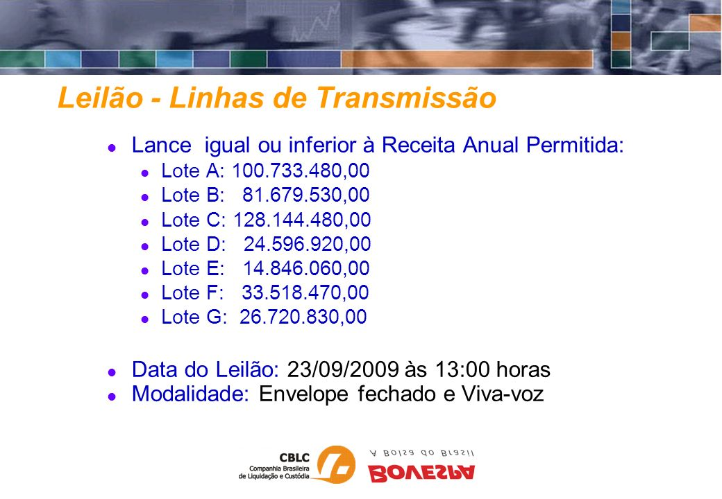 Leilão - Linhas de Transmissão Lance igual ou inferior à Receita Anual Permitida: Lote A: 100.733.480,00 Lote B: 81.679.530,00 Lote C: 128.144.480,00
