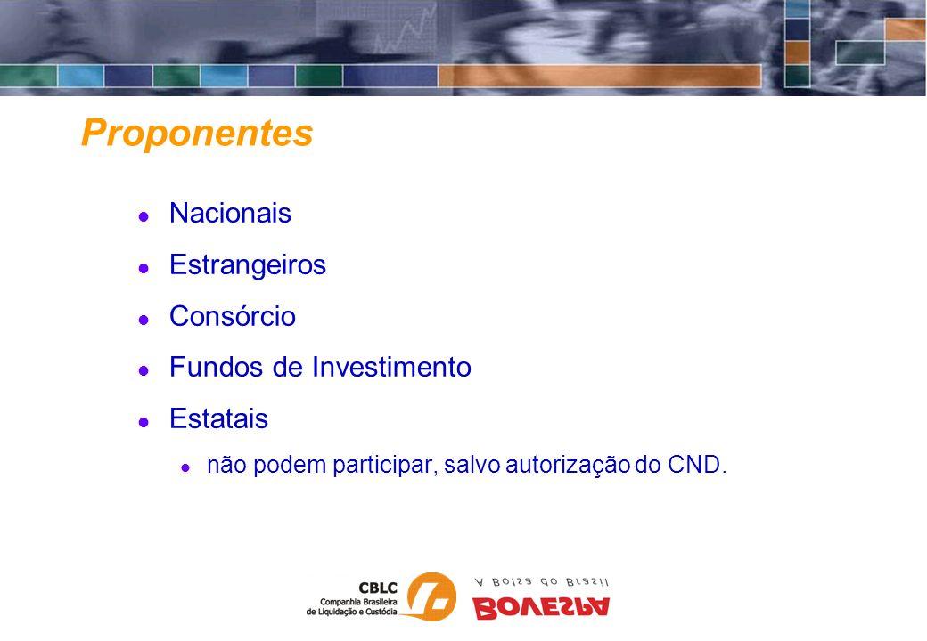 Proponentes Nacionais Estrangeiros Consórcio Fundos de Investimento Estatais não podem participar, salvo autorização do CND.