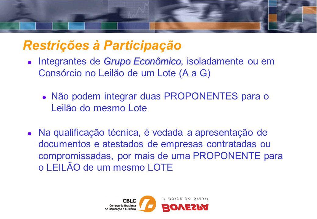 Restrições à Participação Grupo Econômico Integrantes de Grupo Econômico, isoladamente ou em Consórcio no Leilão de um Lote (A a G) Não podem integrar