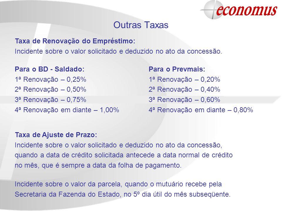 Outras Taxas Para o Prevmais: 1ª Renovação – 0,20% 2ª Renovação – 0,40% 3ª Renovação – 0,60% 4ª Renovação em diante – 0,80% Para o BD - Saldado: 1ª Re