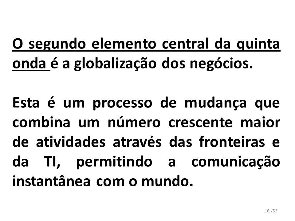 O segundo elemento central da quinta onda é a globalização dos negócios. Esta é um processo de mudança que combina um número crescente maior de ativid