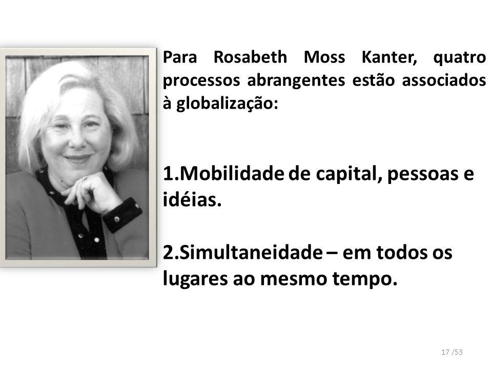 Para Rosabeth Moss Kanter, quatro processos abrangentes estão associados à globalização: 1.Mobilidade de capital, pessoas e idéias. 2.Simultaneidade –