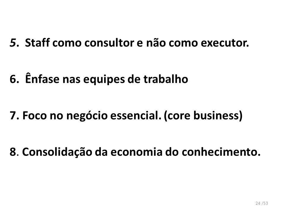 5. Staff como consultor e não como executor. 6. Ênfase nas equipes de trabalho 7. Foco no negócio essencial. (core business) 8. Consolidação da econom