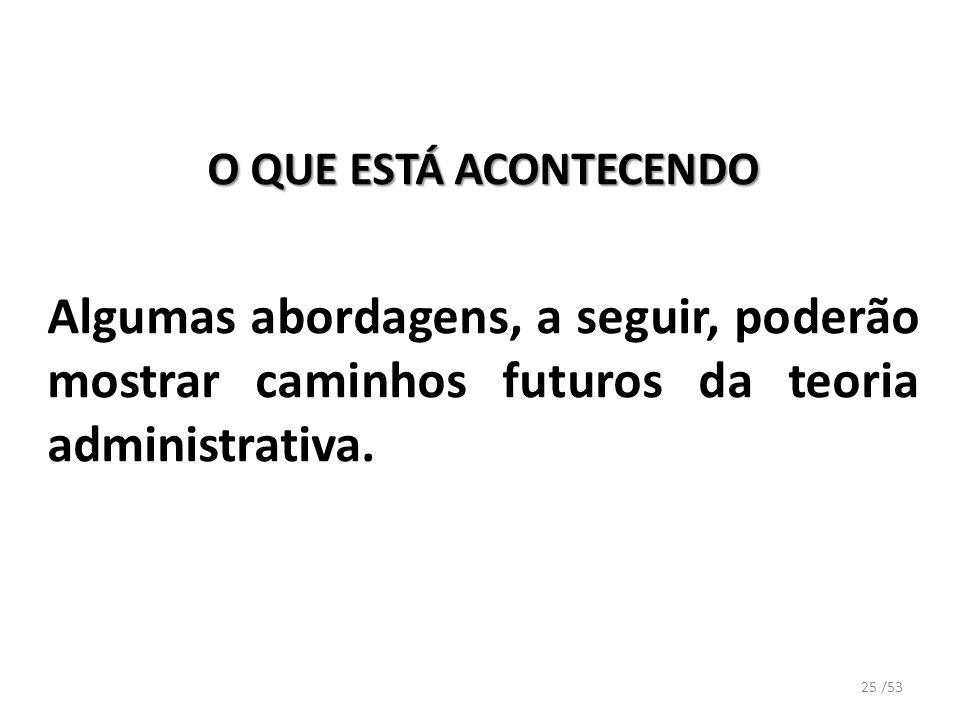 O QUE ESTÁ ACONTECENDO Algumas abordagens, a seguir, poderão mostrar caminhos futuros da teoria administrativa. 25 /53