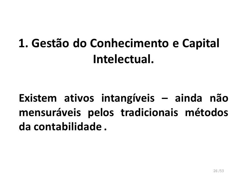 1. Gestão do Conhecimento e Capital Intelectual. Existem ativos intangíveis – ainda não mensuráveis pelos tradicionais métodos da contabilidade. 26 /5