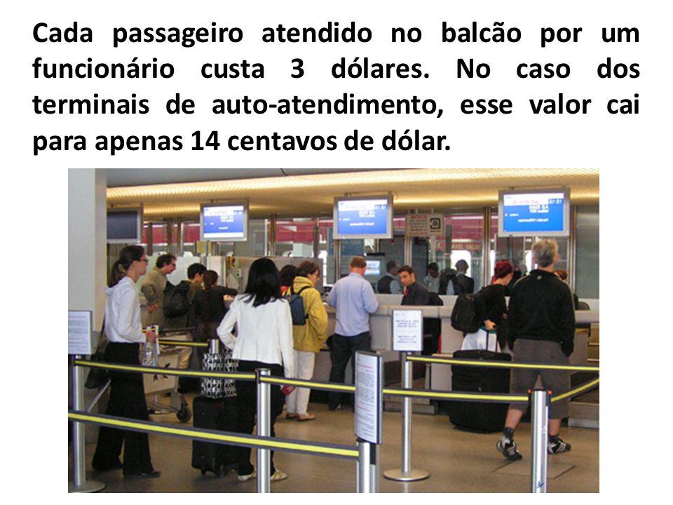 Cada passageiro atendido no balcão por um funcionário custa 3 dólares. No caso dos terminais de auto-atendimento, esse valor cai para apenas 14 centav