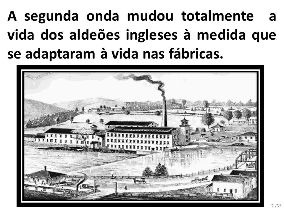 A segunda onda mudou totalmente a vida dos aldeões ingleses à medida que se adaptaram à vida nas fábricas. 7 /53