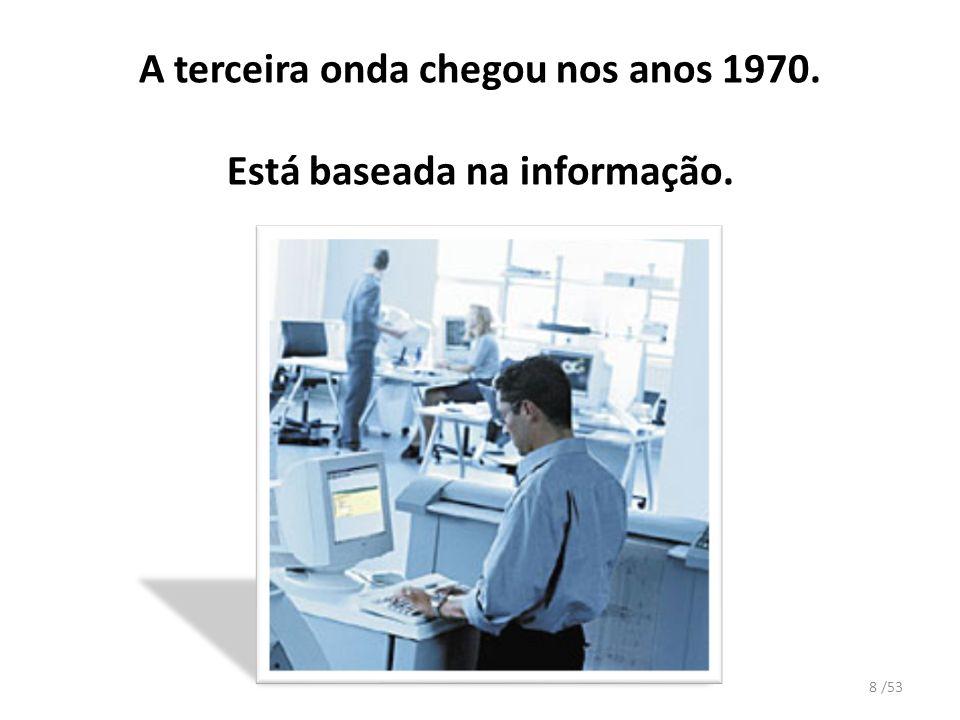 A terceira onda chegou nos anos 1970. Está baseada na informação. 8 /53