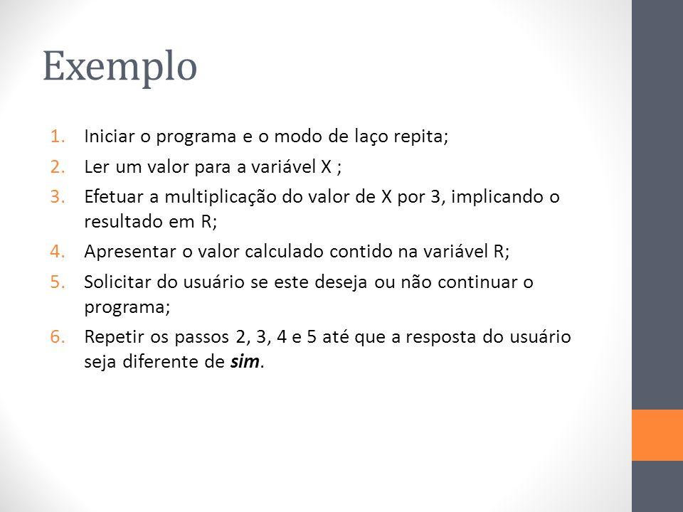 Exemplo 1.Iniciar o programa e o modo de laço repita; 2.Ler um valor para a variável X ; 3.Efetuar a multiplicação do valor de X por 3, implicando o resultado em R; 4.Apresentar o valor calculado contido na variável R; 5.Solicitar do usuário se este deseja ou não continuar o programa; 6.Repetir os passos 2, 3, 4 e 5 até que a resposta do usuário seja diferente de sim.