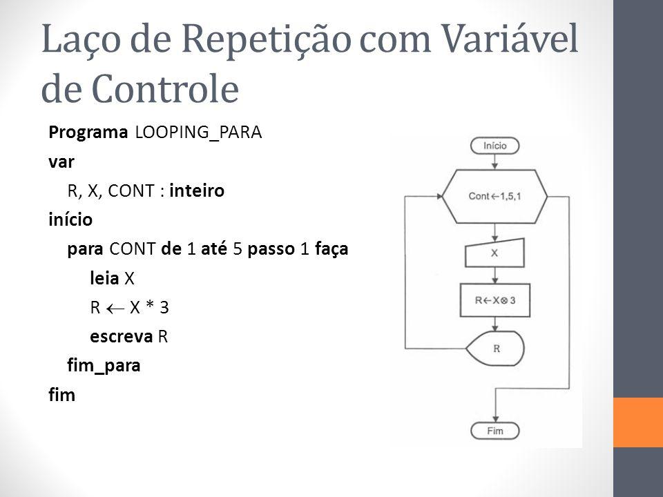 Laço de Repetição com Variável de Controle Programa LOOPING_PARA var R, X, CONT : inteiro início para CONT de 1 até 5 passo 1 faça leia X R X * 3 escreva R fim_para fim
