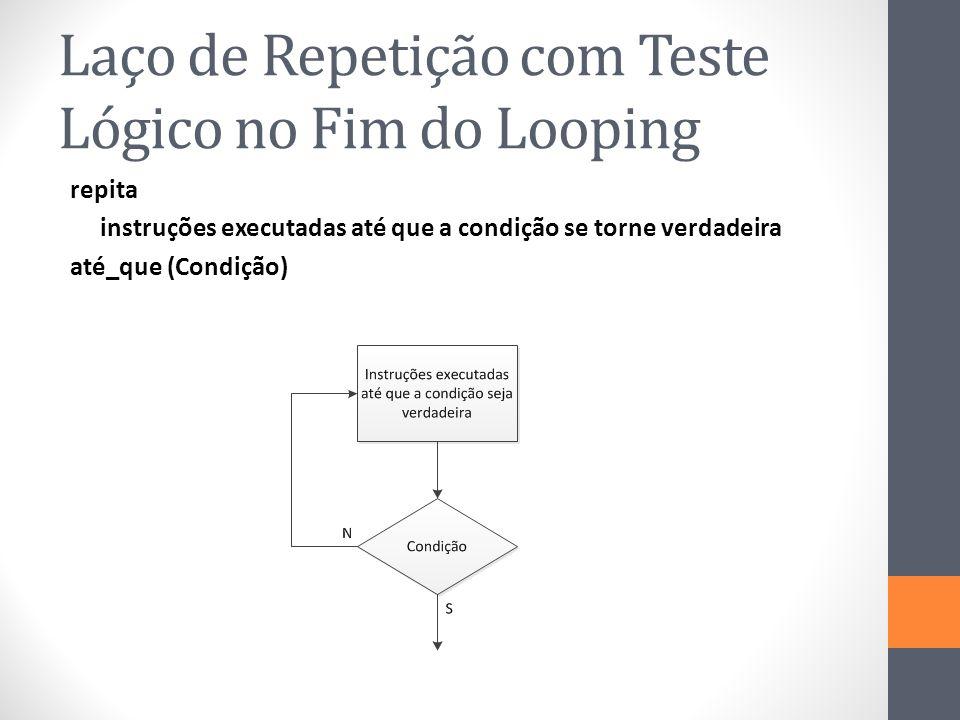 Laço de Repetição com Teste Lógico no Fim do Looping repita instruções executadas até que a condição se torne verdadeira até_que (Condição)