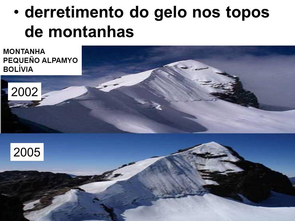 derretimento do gelo nos topos de montanhas MONTANHA PEQUEÑO ALPAMYO BOLÍVIA 2002 2005