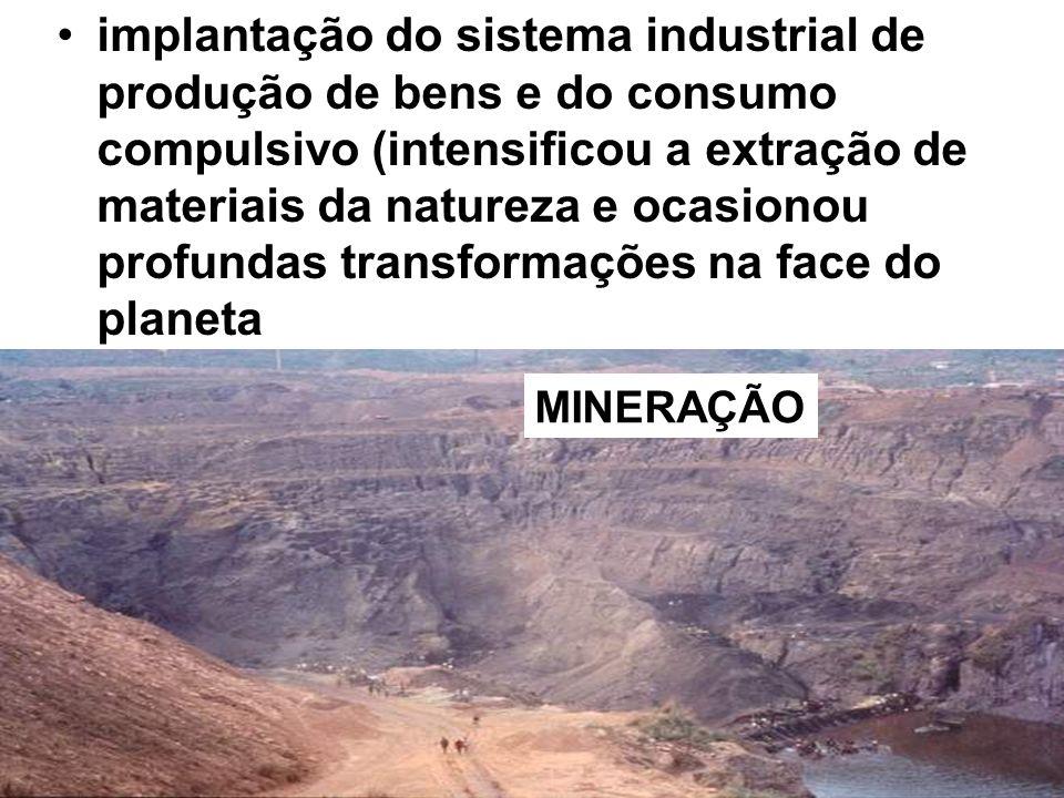 implantação do sistema industrial de produção de bens e do consumo compulsivo (intensificou a extração de materiais da natureza e ocasionou profundas transformações na face do planeta MINERAÇÃO