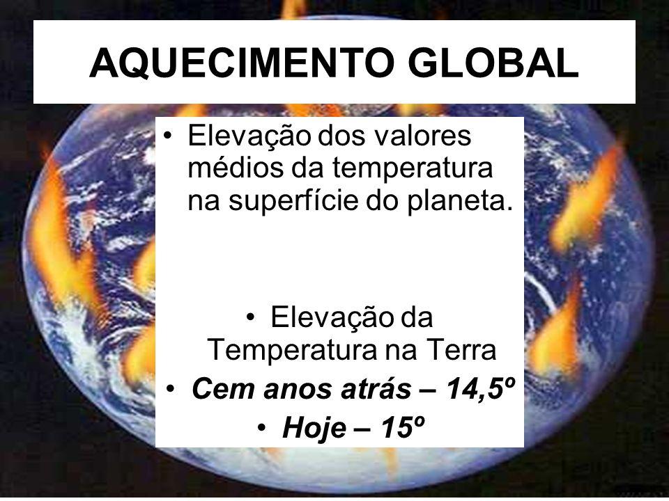 AQUECIMENTO GLOBAL Elevação dos valores médios da temperatura na superfície do planeta.