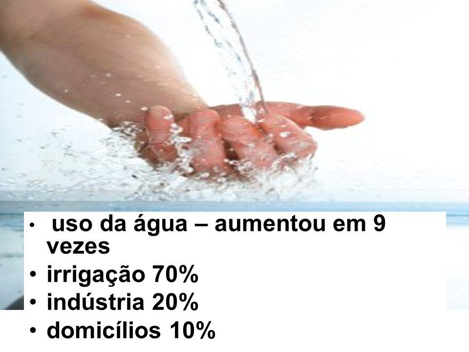 uso da água – aumentou em 9 vezes irrigação 70% indústria 20% domicílios 10%