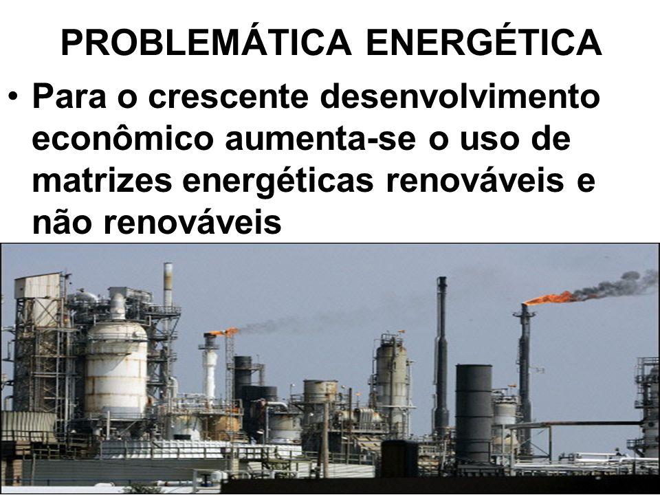 PROBLEMÁTICA ENERGÉTICA Para o crescente desenvolvimento econômico aumenta-se o uso de matrizes energéticas renováveis e não renováveis