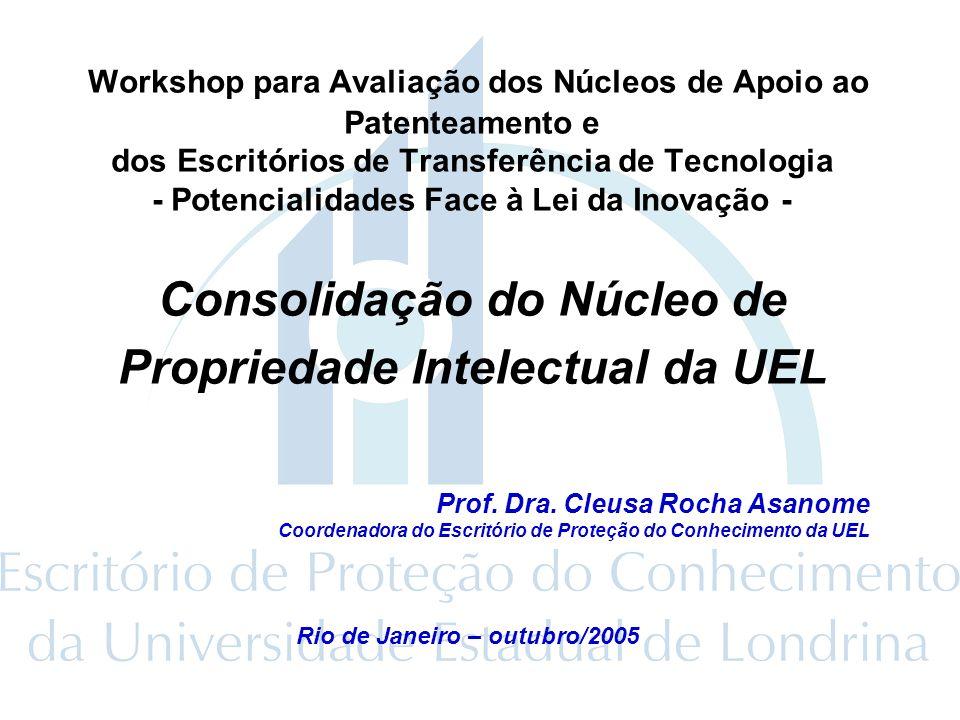 Workshop para Avaliação dos Núcleos de Apoio ao Patenteamento e dos Escritórios de Transferência de Tecnologia - Potencialidades Face à Lei da Inovação - Consolidação do Núcleo de Propriedade Intelectual da UEL Prof.