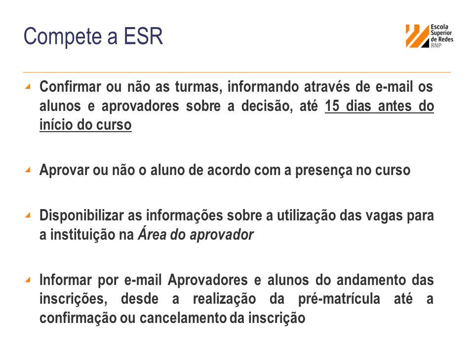 Compete a ESR Confirmar ou não as turmas, informando através de e-mail os alunos e aprovadores sobre a decisão, até 15 dias antes do início do curso A