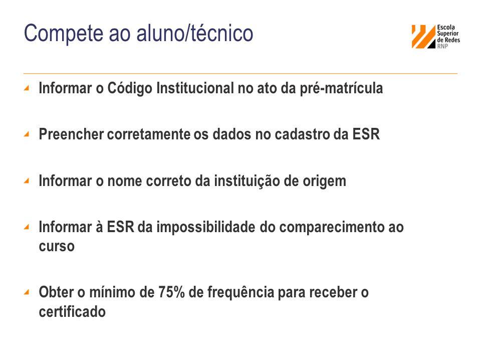 Informar o Código Institucional no ato da pré-matrícula Preencher corretamente os dados no cadastro da ESR Informar o nome correto da instituição de o