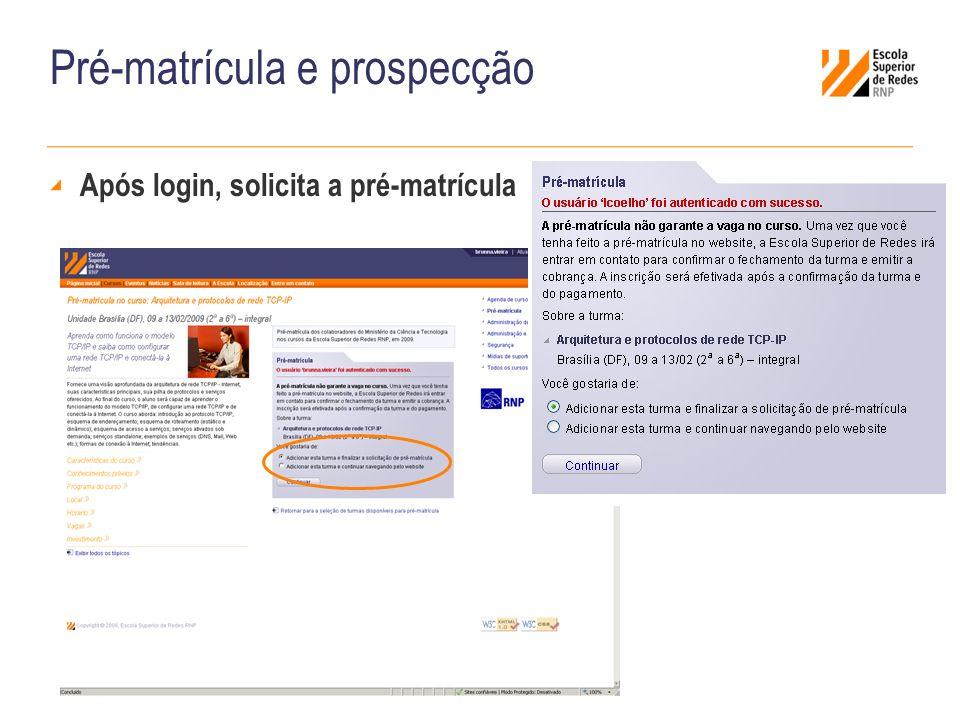 Pré-matrícula e prospecção Após login, solicita a pré-matrícula